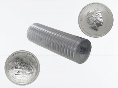 Australien 1$ Tiger Lunar II  2010, 20x 1 oz  Silber
