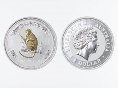 Australien 1 $ Affe Lunar I  2004 gildet, 1 oz  Silber