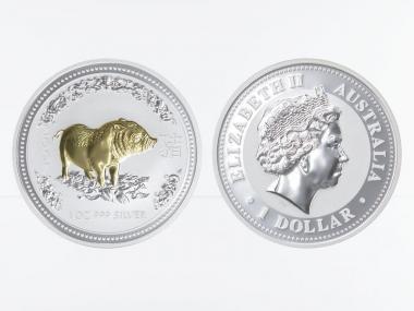 Australien 1 $ Schwein Lunar I  2007  gildet, 1 oz  Silber