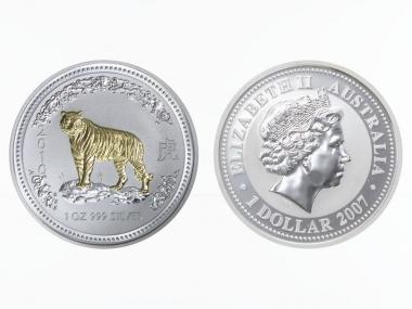 Australien 1 $ Tiger Lunar I  2010  gildet, 1 oz  Silber