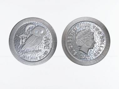 Niue 2 $  Eule von Athen  2017, 1 Unze