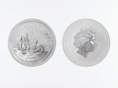Australien 8$ Hase Lunar II  2011, 5 oz  Silber