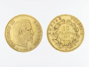 Frankreich 10 Fr. Napoleon III/ Kranz 1856 (A) Paris
