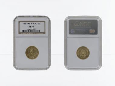 USA 5 $  Gold, Soldat 1993 (W), stgl. Slab MS70