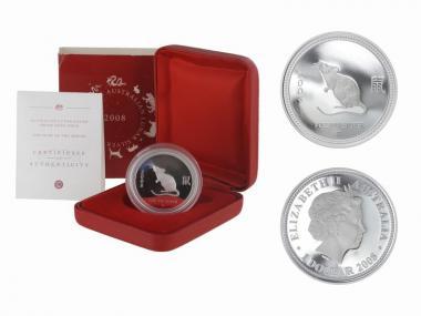 Australien 1$ Ratte Lunar I 2008 PP1 oz  Silber