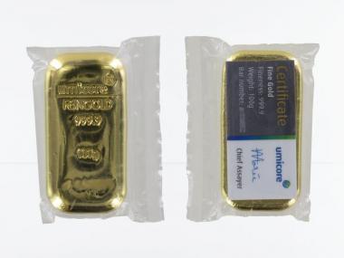 100 Gramm Goldbarren 999,9 Feingold, gegossen, Zertifikat