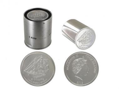 Cook Islands 30 $. Münzstange, 1 Kg Silber, Sekundärware