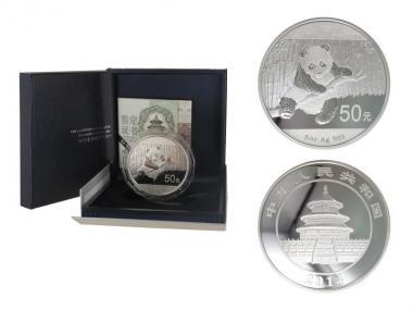 China 50 Yu Panda  2014 Box + CoA, 5 oz  Silber PP