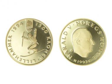 Norwegen 1500 Kroner Gold, 1993, Lillehammer 1994, Telemark
