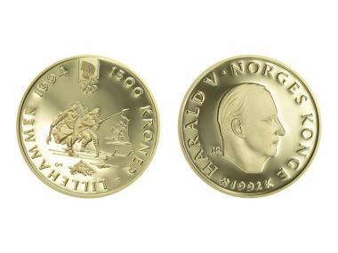 Norwegen 1500 Kroner Gold, 1992, Lillehammer 1994, Birkebeiners