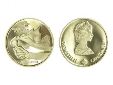 Kanada Olympisches Feuer 100 Dollars 1987, 1/2 oz proof