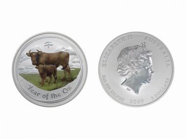 Australien 8$ Ochse Lunar II  2009 farbig, 5 oz  Silber