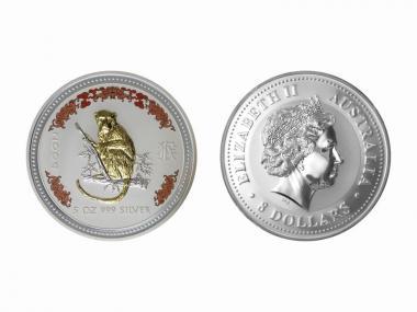 Australien 8 $ Affe Lunar I 2004 gildet+coloriert, 5 Unzen Silber