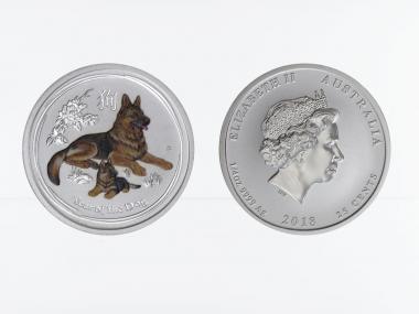 Australien 1/4$ Hund Lunar II  2018 coloriert, 1/4 oz  Silber