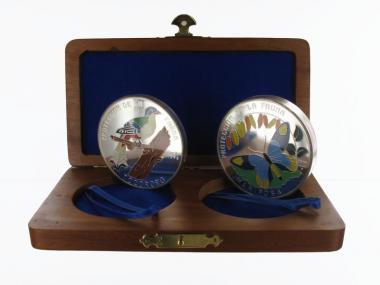 Kuba Fauna Collection 1996 1x 1/2 Kg + 1 Kg Münzen farbig