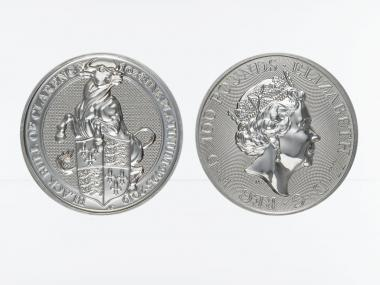 The Queens Beast, Black Bull of Clarence  2019, 1 oz Platin