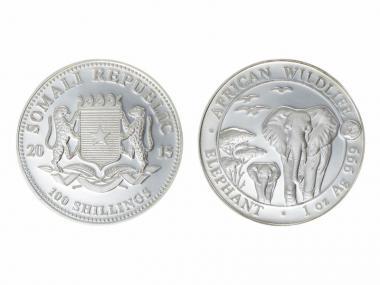 Somalia 100 Sh. Elefant  2015, Privy Steinbock, 1 oz