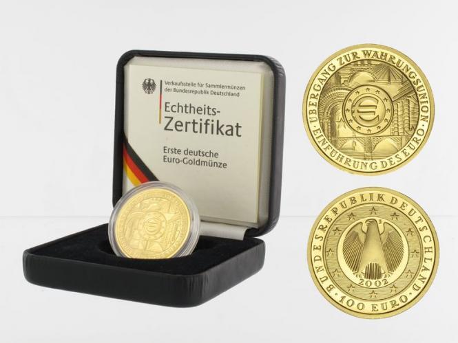 BRD 100 Euro Gold, 2002 D, Währungsunion,  original