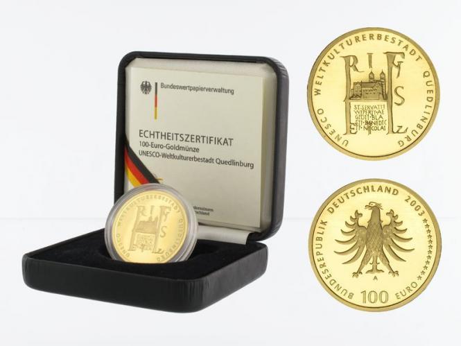 BRD 100 Euro Gold, 2003 F, Quedlinburg, original