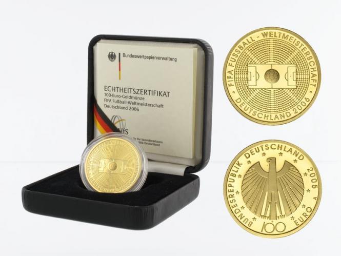 BRD 100 Euro Gold, 2005 A, Fußball WM 2006, original