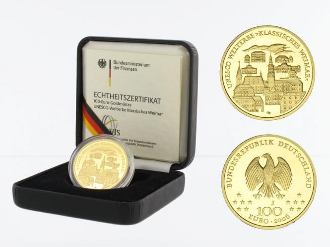 BRD 100 Euro Gold, 2006 G, Weimar, original