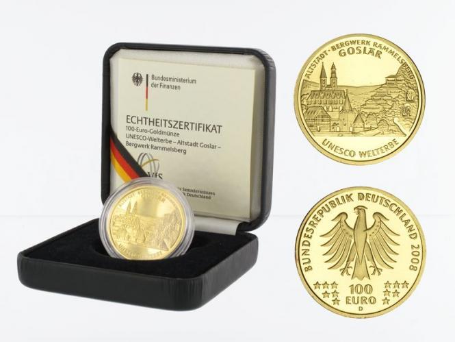 BRD 100 Euro Gold, 2008 A, Goslar, original