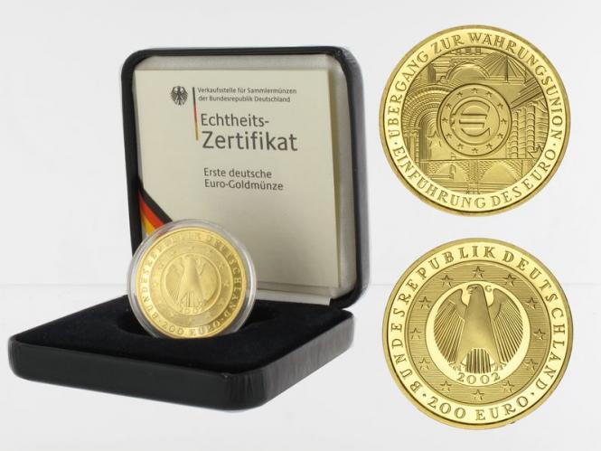 BRD 200 Euro Gold, 2002 A, Währungsunion,  original