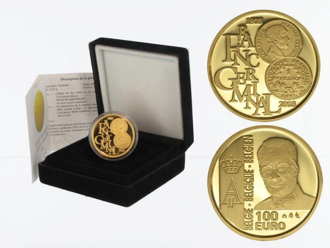 Belgien 100 Euro Gold, Franc Germinal 2003, original