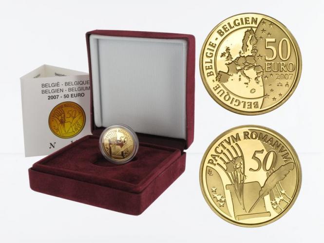 Belgien 50 Euro Gold, Röm. Verträge 2007, original