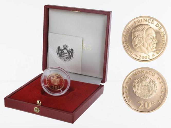 Monaco 20 Euro Gold, 2002, Fürst Rainier III, original