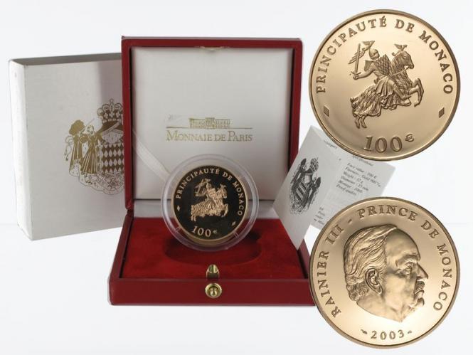 Monaco 100 Euro Gold, 2003, Fürst Rainier III, original