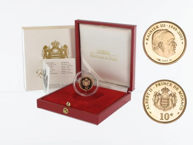 Monaco 10 Euro Gold, 2005, Fürst Rainier III, original