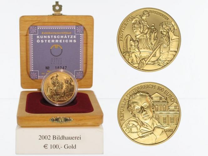 Österreich 100 Euro Gold, 2002, Bildhauerei,