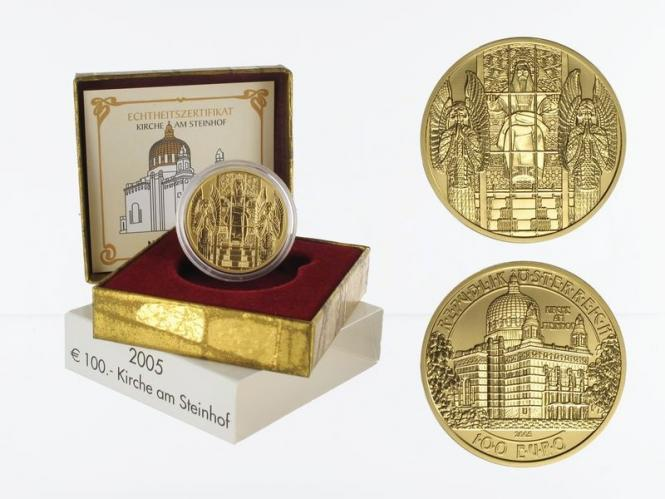 Österreich 100 Euro Gold, 2005, Kirche am Steinhof,