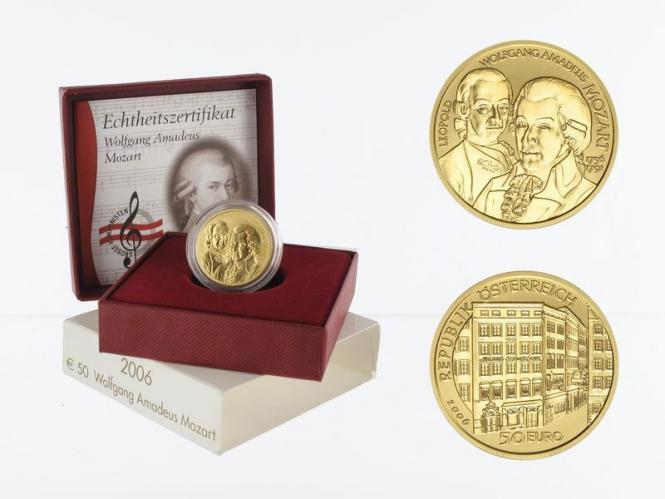 Österreich 50 Euro Gold, 2006, Mozart,