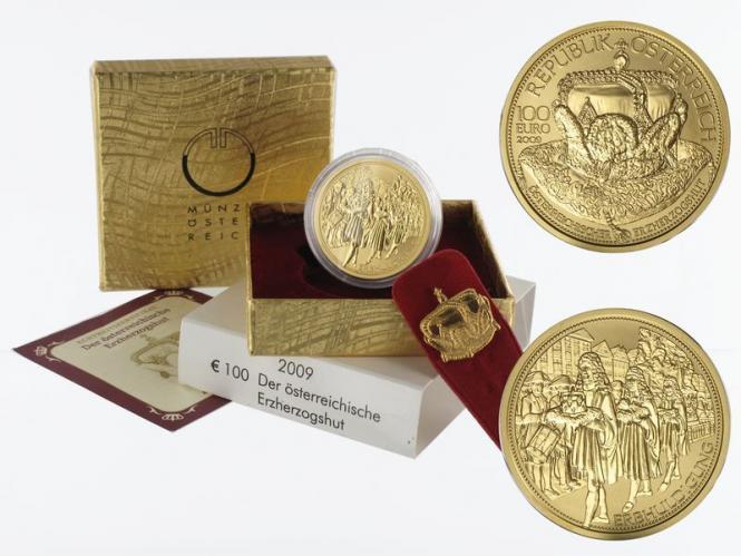 Österreich 100 Euro Gold, 2009, Erzherzogshut,