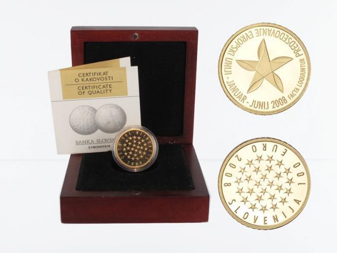 Slowenien 100 Euro Gold, 2008, EU-Präsidentschaft