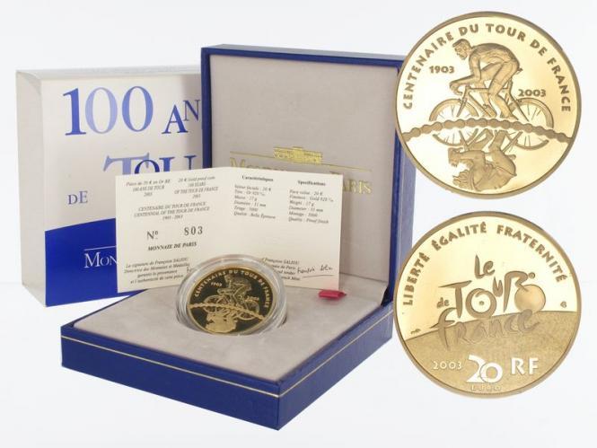Frankreich 20 Euro Gold, 2003, Radrennfahrer