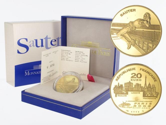 Frankreich 20 Euro Gold, 2003,  WM 2003 Hochsprung