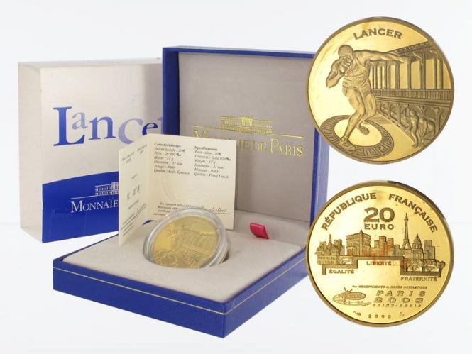 Frankreich 20 Euro Gold, 2003,  WM 2003 Kugelstoßen
