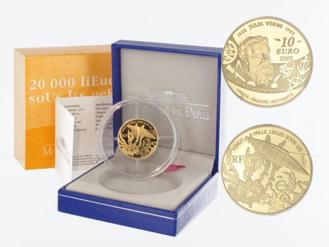 Frankreich 10 Euro Gold, 2005,  Jules Verne - Meer