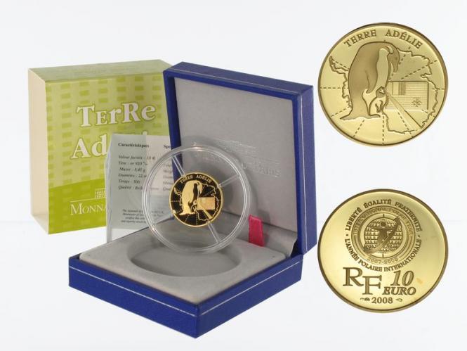 Frankreich 10 Euro Gold, 2008, Polarjahr Adelie-Land