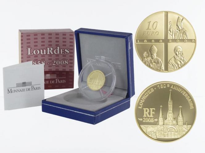 Frankreich 10 Euro Gold, 2008, Lourdes