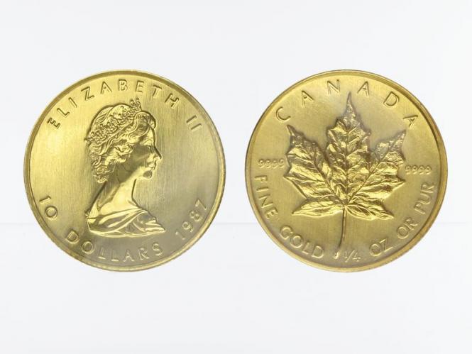 Kanada 10 Dollar 1/4 oz Maple Leaf, 1/4 Unze Feingold