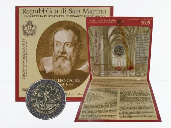 San Marino 2 Euro Münze, 2005, Galilei im Folder