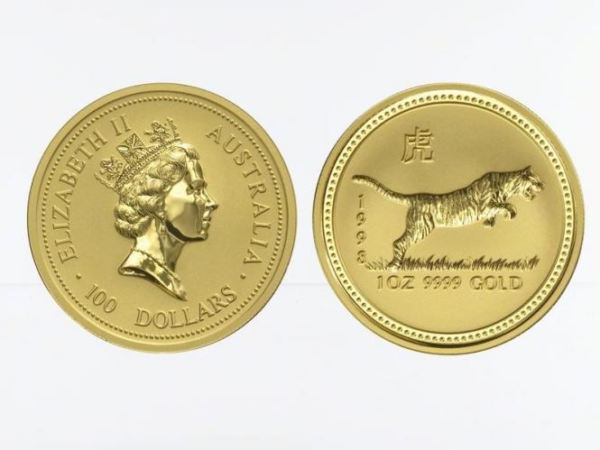 Australien 100 $ Lunar I Tiger, 1 Unze  1998