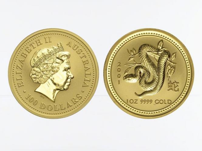 Australien 100 $ Lunar I Schlange, 1 Unze  2001