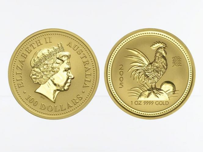 Australien 100 $ Lunar I Hahn, 1 Unze  2005