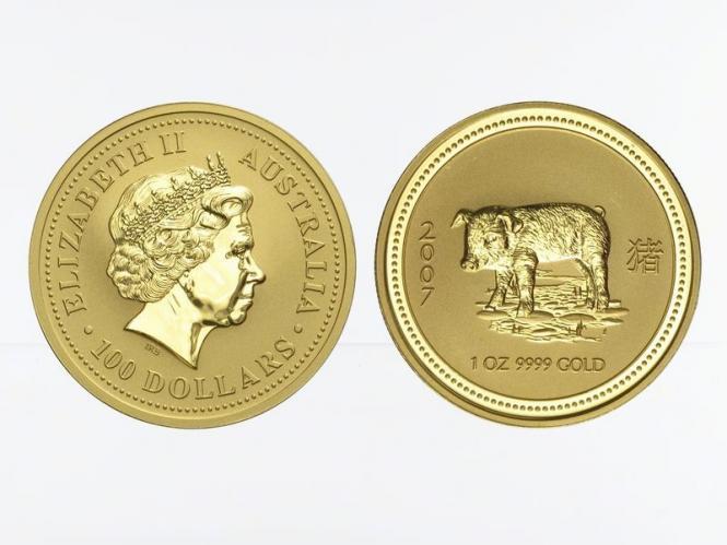 Australien 100 $ Lunar I Schwein, 1 Unze  2007