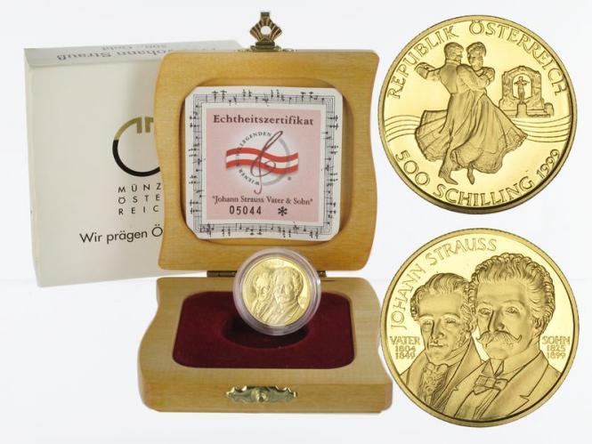 Österreich 500 Sh. Gold, 1999, Johann Strauß